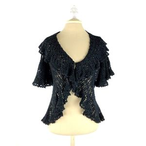 Betsey Johnson Knit Cardigan Short Fan Sleeves